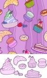 Doces no fundo cor-de-rosa ilustração stock