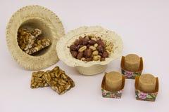 Doces variados do amendoim, brasileiro típico Peça tradicional de Junina Foto de Stock Royalty Free