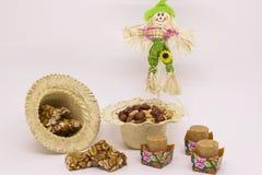 Doces variados do amendoim, brasileiro típico Peça tradicional de Junina Imagem de Stock