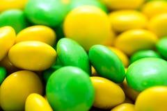 Doces verdes e amarelos macro Foto de Stock Royalty Free