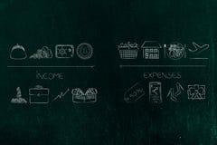 Dochód ikony od gotówki safebox i inwestyci stats vs expens Fotografia Royalty Free
