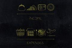 Dochód ikony z, koszty i lubią housi Obraz Royalty Free
