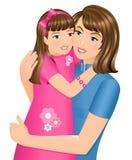 Dochter die haar moeder koestert Royalty-vrije Stock Afbeelding
