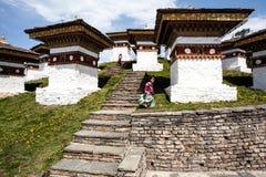 Dochu la high up in the Himalayas, Western Bhutan, Asia. The pagodas of Dochu la high up in the Himalayas, Western Bhutan, Asia Royalty Free Stock Photos