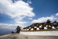 Dochu la high up in the Himalayas, Western Bhutan, Asia. The pagodas of Dochu la high up in the Himalayas, Western Bhutan, Asia Stock Photo