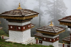 Dochula Pass in the fog. Bhutan, Dochula Pass in the clouds royalty free stock photography