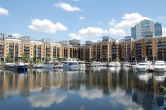 Dock. Luxury townhouse in beautiful dock against blue sky royalty free stock photos