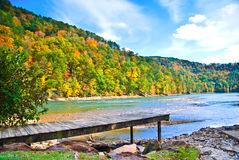 Dock Above the Water in Autumn stock photo