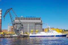 Dock of ALMAZ Shipbuilding Company, St.-Petersburg, Russia Royalty Free Stock Image