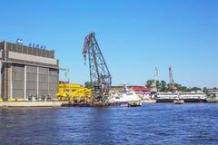Dock of ALMAZ Shipbuilding Company, St.-Petersburg, Russia Stock Images