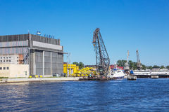 Dock of ALMAZ Shipbuilding Company, St.-Petersburg, Russia Royalty Free Stock Photo