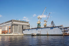 Dock of ALMAZ Shipbuilding Company, St.-Petersburg, Russia Stock Images