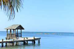 Dock along the Caribbean Ocean, Roatan, Honduras. Covered Dock in Roatan, Honduras framed by a palm tree Royalty Free Stock Image