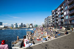 Dock, apartments and Oslo skyline Stock Photos