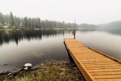 Dock argenté de lac Photo stock