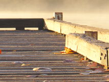 Dock auf nebelhaftem nebeligem See Lizenzfreies Stockfoto