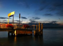 Dock auf See Leman, Evian, Franc Lizenzfreie Stockbilder
