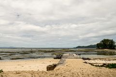 The dock of the beach before Anse Source D`Argent, La Digue, Sey stock image