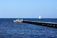 Dock in belize Stock Photography