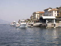 Dock of Bellagio with nineteenth-century historic homes Stock Image