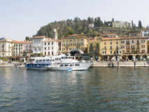 Dock of Bellagio with nineteenth-century historic homes Royalty Free Stock Image