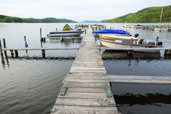 Boat Dock Calm Lake Stock Image