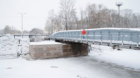 Dock bridge in Kronstadt stock video
