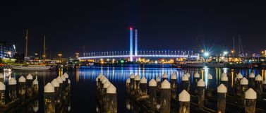 Dock and bridge at night Stock Image