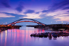 The dock bridge sunset with sky in taiwan Dream st Stock Photos