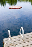 Dock on calm lake in cottage country Stock Image