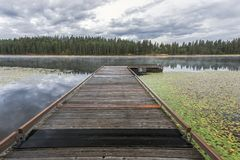 Dock on a calm lake in Idaho. A dock leads out to the calm water of Shepard Lake near Sagle, Idaho Stock Photography