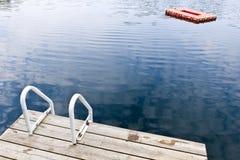 Dock on calm summer lake stock image