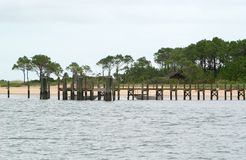 Dock at Cape Lookout stock images