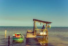 Dock caye caulker belize Stock Photo