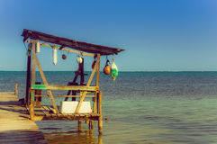 Dock caye caulker belize Stock Photography