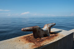 Dock Cleat Industrial Ocean View Royalty Free Stock Photos