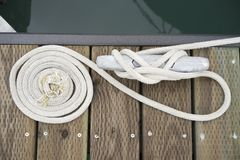 Dock Cleat with rope wrap around it. Stock Image