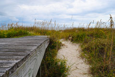 Dock and Coastal Dune. Dock Leading to a Coastal Dune with Marsh Grass Royalty Free Stock Photos