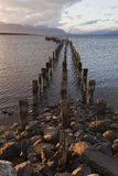 Dock at the coastline of Puerto Natales. Chile Stock Photos