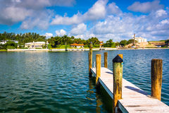 Dock in Collins Canal in Miami Beach, Florida. Stock Photography