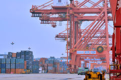 Dock and container yard in Xiamen, Fujian, China Stock Photos