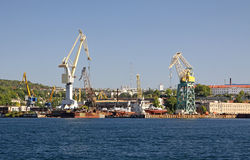 Dock crane towers in Sevastopol Royalty Free Stock Photography