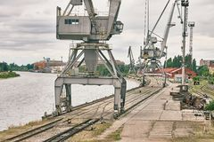 Dock with cranes Stock Photography