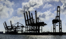 Dock cranes silhouette Stock Photography