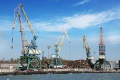 Dock cranes at work Royalty Free Stock Photos