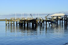 Dock damaged by Hurricane Matthew, Vilano Beach, Florida Royalty Free Stock Photography