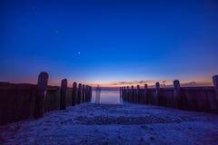 Dock de coucher du soleil Images libres de droits