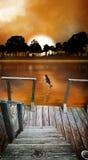 Dock de pêche de lever de soleil Photos stock