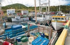 Dock der kommerziellen Fischerei in Neufundland Stockbild