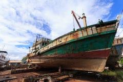 Dock des Fischerbootes Stockfoto